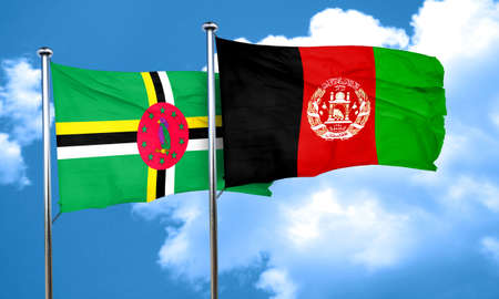 Dominica flag with afghanistan flag, 3D rendering