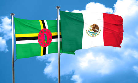 dominica: Dominica flag with Mexico flag, 3D rendering