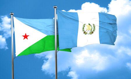 bandera de guatemala: bandera de Djibouti con el indicador de Guatemala, 3D