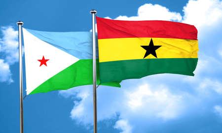 djibouti: Djibouti flag with Ghana flag, 3D rendering