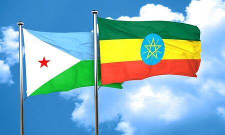ethiopia flag: Djibouti flag with Ethiopia flag, 3D rendering