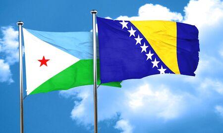 bosnia and herzegovina flag: Djibouti flag with Bosnia and Herzegovina flag, 3D rendering