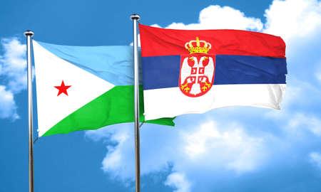 serbia flag: Djibouti flag with Serbia flag, 3D rendering Stock Photo