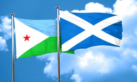 djibouti: Djibouti flag with Scotland flag, 3D rendering