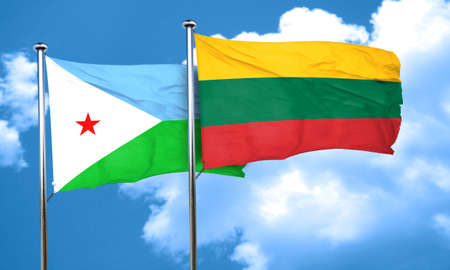 djibouti: Djibouti flag with Lithuania flag, 3D rendering