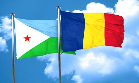romania flag: Djibouti flag with Romania flag, 3D rendering