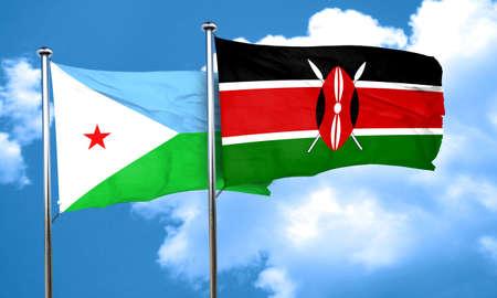 djibouti: Djibouti flag with Kenya flag, 3D rendering