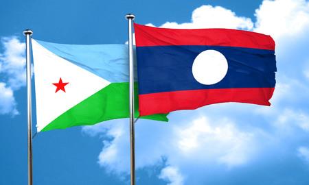 djibouti: Djibouti flag with Laos flag, 3D rendering