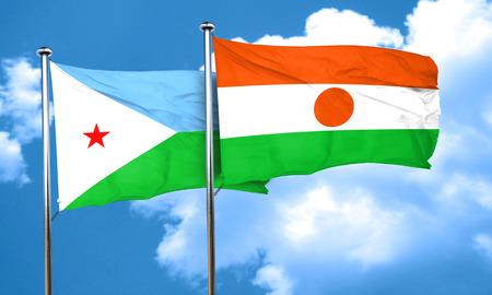 djibouti: Djibouti flag with Niger flag, 3D rendering