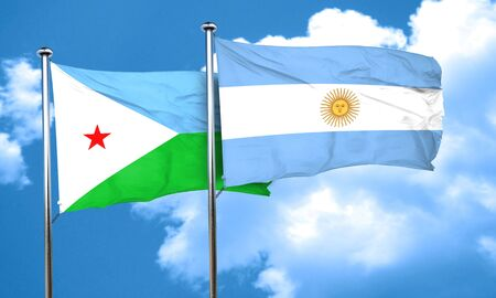 djibouti: Djibouti flag with Argentine flag, 3D rendering