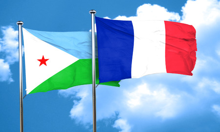 djibouti: Djibouti flag with France flag, 3D rendering