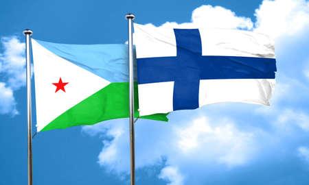 djibouti: Djibouti flag with Finland flag, 3D rendering Stock Photo
