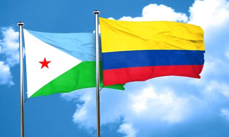 colombia flag: Djibouti flag with Colombia flag, 3D rendering