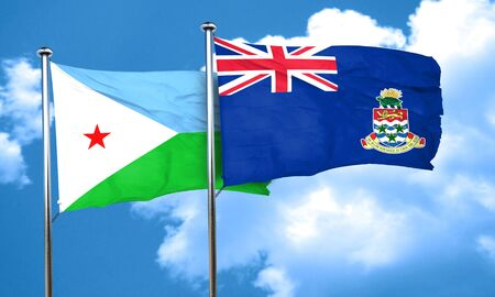 cayman: Djibouti flag with Cayman islands flag, 3D rendering