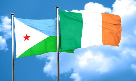 ireland flag: Djibouti flag with Ireland flag, 3D rendering