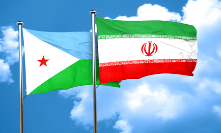 iran: Djibouti flag with Iran flag, 3D rendering