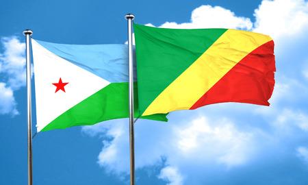 congo: Djibouti flag with congo flag, 3D rendering