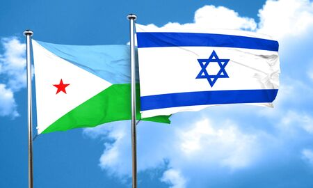 israel flag: Djibouti flag with Israel flag, 3D rendering