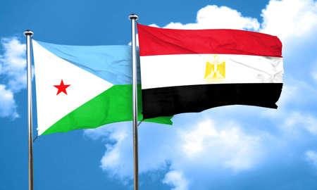 bandera egipto: bandera de Yibuti con bandera de egipto, 3D Foto de archivo