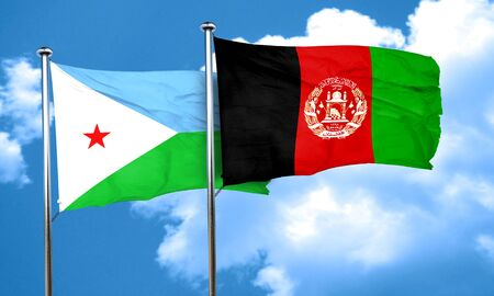 Djibouti flag with afghanistan flag, 3D rendering