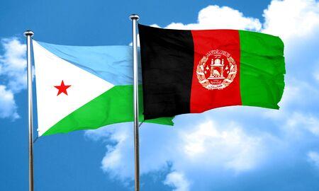afghanistan flag: Djibouti flag with afghanistan flag, 3D rendering