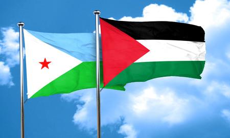 palestine: Djibouti flag with Palestine flag, 3D rendering