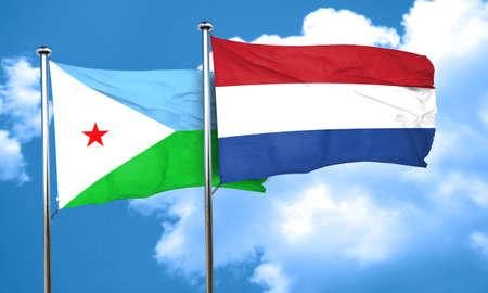 netherlands flag: Djibouti flag with Netherlands flag, 3D rendering