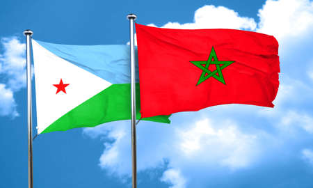 djibouti: Djibouti flag with Morocco flag, 3D rendering Stock Photo
