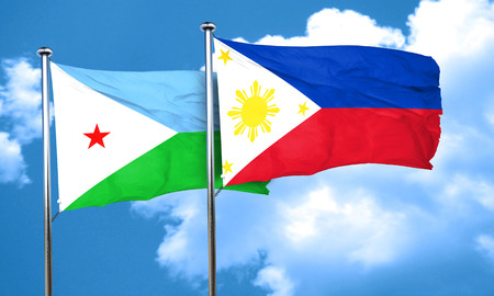 philippino: Djibouti flag with Philippines flag, 3D rendering