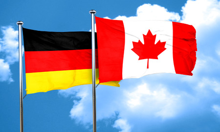 canadian state flag: German flag with Canada flag, 3D rendering Stock Photo