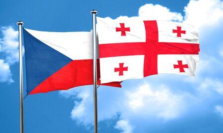 czechoslovakia: czechoslovakia flag with Georgia flag, 3D rendering