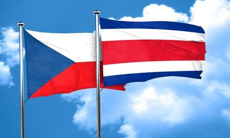 czechoslovakia: czechoslovakia flag with Costa Rica flag, 3D rendering