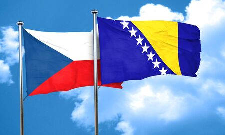 czechoslovakia: czechoslovakia flag with Bosnia and Herzegovina flag, 3D rendering Stock Photo