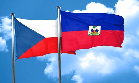 haiti: czechoslovakia flag with Haiti flag, 3D rendering Stock Photo
