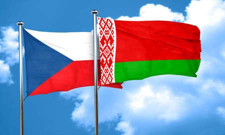 czechoslovakia: czechoslovakia flag with Belarus flag, 3D rendering Stock Photo