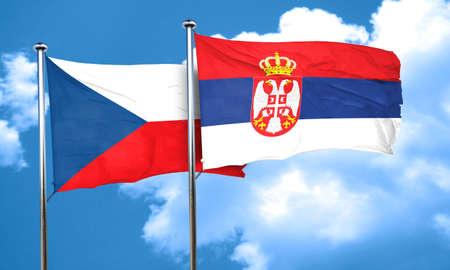 serbia flag: czechoslovakia flag with Serbia flag, 3D rendering