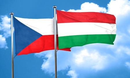 czechoslovakia: czechoslovakia flag with Hungary flag, 3D rendering Stock Photo