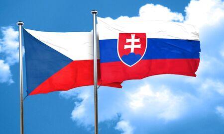 czechoslovakia: czechoslovakia flag with Slovakia flag, 3D rendering