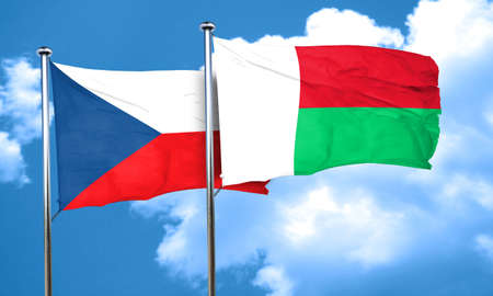 czechoslovakia: czechoslovakia flag with Madagascar flag, 3D rendering Stock Photo