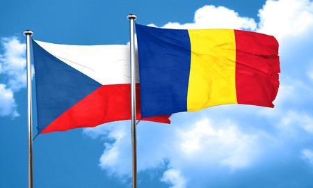 czechoslovakia: czechoslovakia flag with Romania flag, 3D rendering
