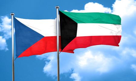 czechoslovakia: czechoslovakia flag with Kuwait flag, 3D rendering Stock Photo