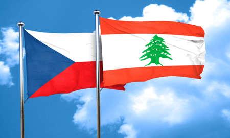 czechoslovakia: czechoslovakia flag with Lebanon flag, 3D rendering