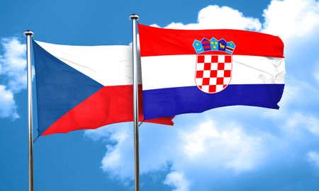 czechoslovakia: czechoslovakia flag with Croatia flag, 3D rendering