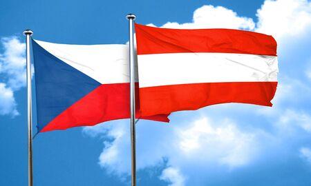 czechoslovakia: czechoslovakia flag with Austria flag, 3D rendering