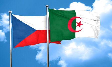 czechoslovakia: czechoslovakia flag with Algeria flag, 3D rendering Stock Photo