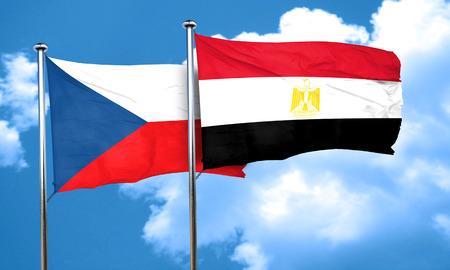 bandera egipto: czechoslovakia flag with egypt flag, 3D rendering Foto de archivo