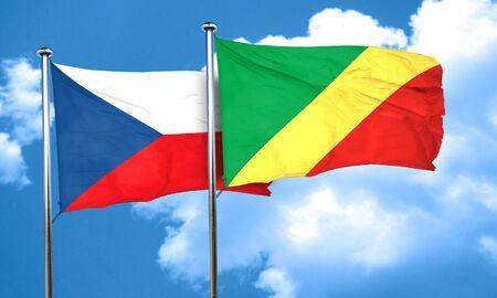 czechoslovakia: czechoslovakia flag with congo flag, 3D rendering Stock Photo