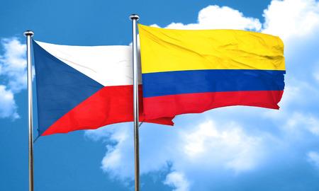 bandera de colombia: czechoslovakia flag with Colombia flag, 3D rendering Foto de archivo