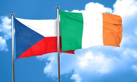 czechoslovakia: czechoslovakia flag with Ireland flag, 3D rendering Stock Photo