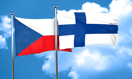 FINLAND flag: czechoslovakia flag with Finland flag, 3D rendering